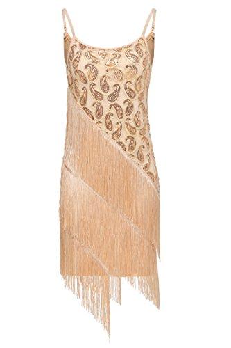 Angvns Women's Sequin Paisley Pattern Tiered Tassel Gatsby Flapper Dress (XL, Beige) - Mini Paisley Pattern