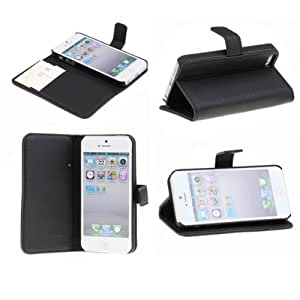 Neewer PU Leather Wallet Case Pouch Flip Stand Case Cover for Apple iPhone 5,5S,5C(Black)