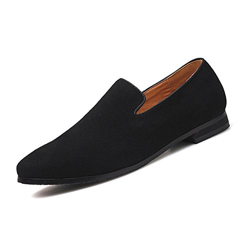 Men's Slip-on Loafers Dress Shoes PU Leather Noble Comfortable Pure Color Fashion Driving Boat Moccasins Black 44