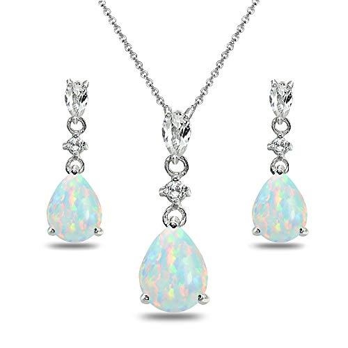 (Sterling Silver Simulated White Opal & Topaz Pear-Cut Teardrop Dangling Stud Earrings & Necklace Set)