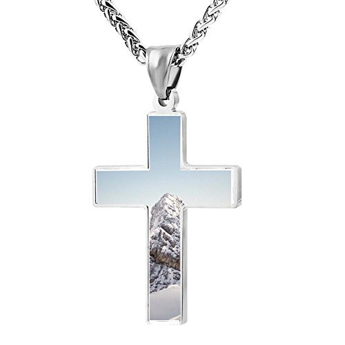 Gjghsj2 Cross Necklace Pendant Religious Jewelry Snowy Mountain Funny For Men Wome ()