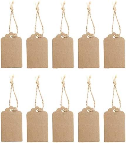 VORCOOL 100 Stück Geschenk Anhänger Hängeetiketten Papieranhänger Preisschild 50 * 30mm mit 10M Seil