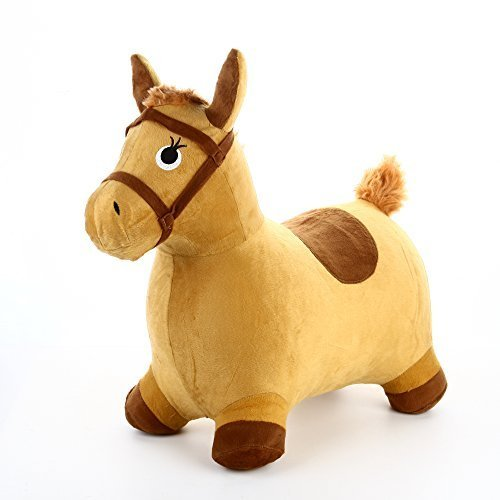 Hopping Horse - iPlay, iLearn Horse Hopper Inflatable Hopping Horse Plush covered with pump (Tan)
