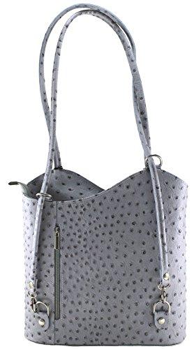 vera Bag borsa 100 Donna pelle Ctm struzzo Made chiaro Italy In grigio 28x30x9cm con di qnd0nwz1C