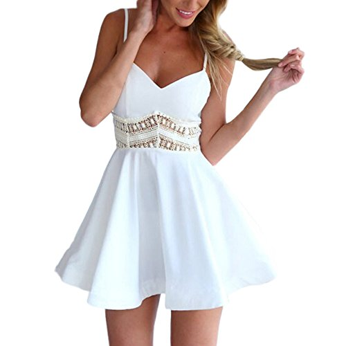 iDWZA Women Summer Sleeveless Lace V Neck Sexy Hollowed Dress(White,S)
