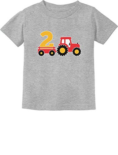 (2nd Birthday Gift Construction Party 2 Year Old Boy Toddler/Infant Kids T-Shirt 2T Gray)