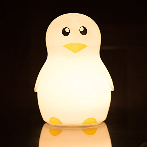 niceEshop(TM) LED Children Night Light ,Cute Penguin Silicone Night Lights Lamp for Kids Bedroom Nursery Baby Multicolor Flashing USB Rechargeable Lighting,Warm/White Light (Girl)