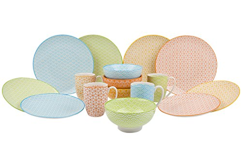 VANCASSO Porcelain Dinnerware Set of 4, Colors Patterned Service Set Series of Natasuki with Cups Bowls Dessert Plates and Dinner Plates for Everyday Use, 16-Piece ... (Patterned Dinnerware)