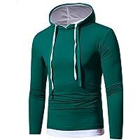 Litetao Men Fall Fashion Hoodie Hooded Sweatshirt Top Pullover Sport Patchwork Blouse