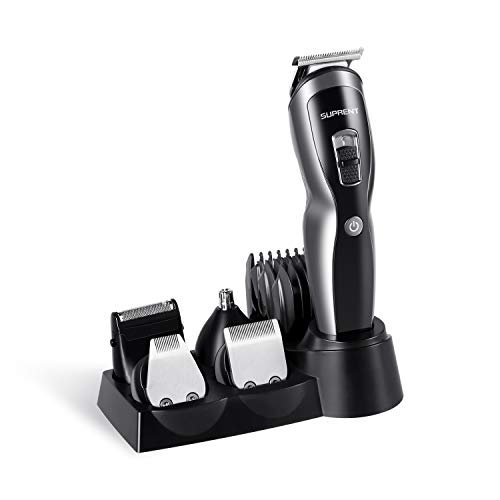 SUPRENT Beard Trimmer Men, Fast&Quick USB Charge,Li-ion Battery,11-in-1 Beard Trimmer with Sideburns Trimmer,Facial Trimmer,Nose Hair Trimmer,Cordless Beard Trimmer
