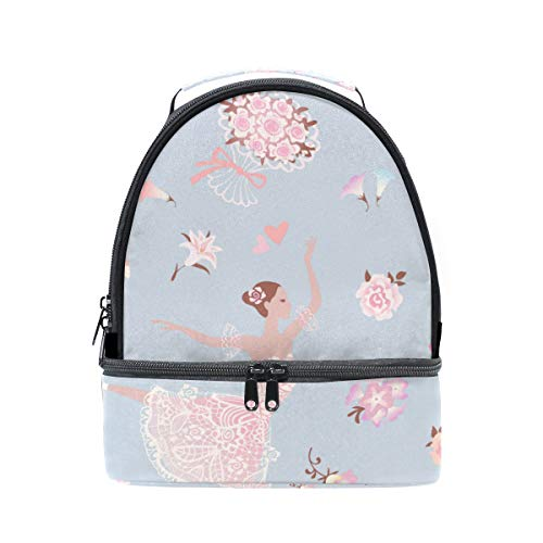 Dancing Ballerinas With Pink Glorious Rose Flower Portable School Shoulder Tote Lunch Bag Handbag Kids Double Lunch Box Reusable Insulated Cooler For Women Student Travel ()