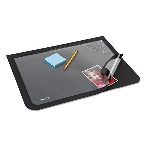 Artistic Office Products 17'' x 22'' Logo Pad Lift-top Desktop Organizer Desk Mat, Black/Clear by Artistic