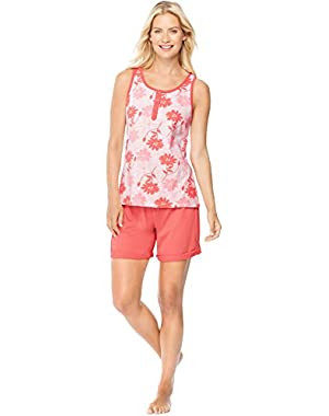 Hanes Womens Ultimate Henley Tank/Shorts Sleep Set