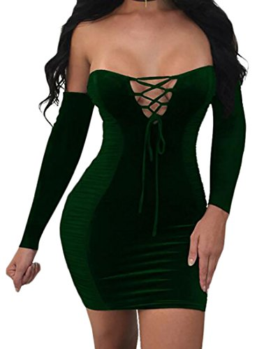 Dress Long Lace Green Velvet Bodycon Solid Mini Blackish Up Color Womens Sleeve Cromoncent EvHaaq