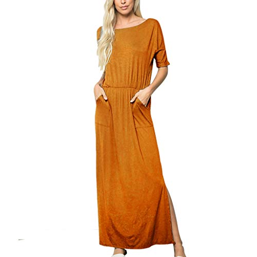 iZHH Fashion Womens Long Dress Solid O-Neck Half Sleeve Two Pockets Ruched Open Fork Maxi Dress ()