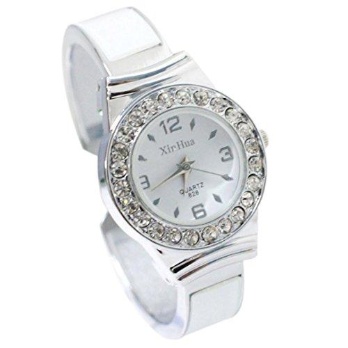 GBSELL Fashion Womens Rhinestone Dial Bangle Cuff Analog Quartz Bracelet Wrist Watch,White