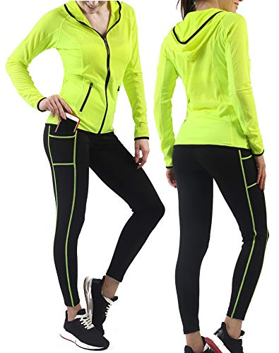 Activewear Sets for Women-Workout Clothes Gym Wear Tracksuits Yoga Jogging Outfit HoodieJacket Pant Legging 2PiecesSet