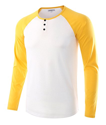(HARBETH Men's Casual Long Sleeve Henley Shirt Raglan Fit Baseball T-Shirts Tee White/A.Gold S)