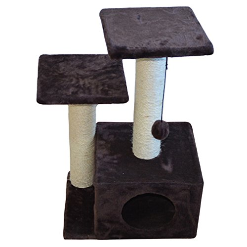 Iconic Pet Three- Tiered Plush Cat Furniture Tree in Brown Color-Two Sisal Rope Cat Scratching Posts with Square Cave Condo works as Kitty Activity Center, Post with Plush Toy for ()