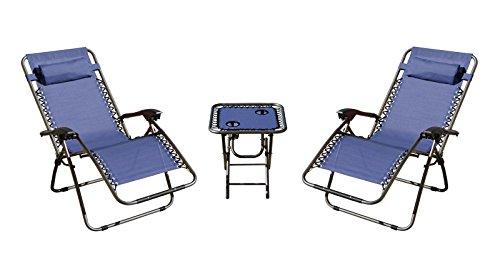 Mano Patio Zero Gravity Chairs & Table Set of 3, Navy Blue