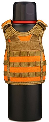 - Tactical Premium Beer Military Molle Mini Miniature Vests Beverage Cooler for 12oz or 16oz Beverages cans and Bottles - Adjustable Shoulder Straps - Hunter Orange