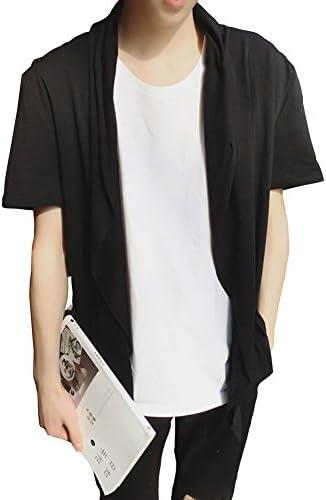 メンズ 半袖 棉 薄地 純色 ゆったり シンプル カーディガン