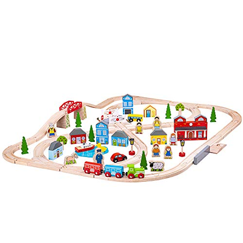 Bigjigs Rail Wooden Town and Country Train Play Set with -