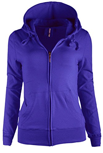 TL Women's Knit Stretch Zipper Solid Casual Zip-Up Hoodie Jackets In Colors 47 (Large (Hooded Stretch Sweatshirt)