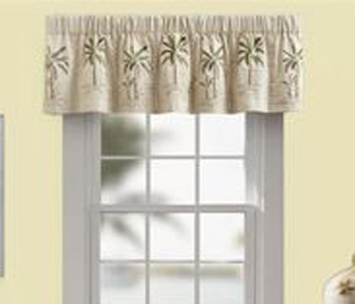 Croscill Palm Tree Tailored Valance, 63-Inch by 15-Inch, Ivory (Oasis Valance)