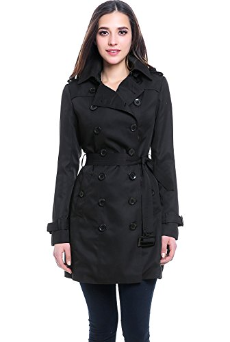 BGSD Women's Viv Hooded Mid Length Trench Coat - Black M ()