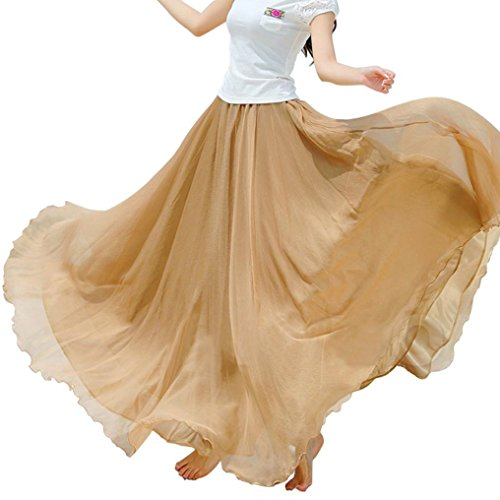 Kaki de taille en Femmes lastique longue Maxi mousseline Dress Fulltime soie Pa6xB6