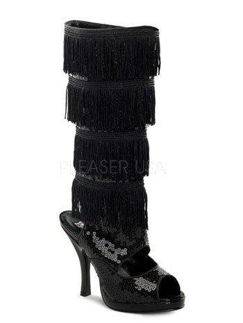 Black Costume Knee Boots Fringe Sequin Flapper afUW4