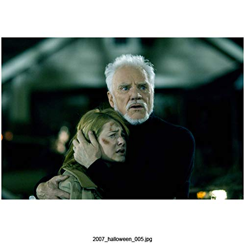 Malcolm McDowell 8 inch x 10 inch Photograph Halloween (2007) Comforting Scout Taylor-Compton kn