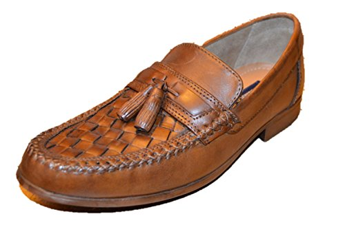 Bass Men's Tan Leather Tassel Loafers, 8.5 US