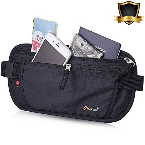 Dorras Money Belt, Travel Wallet Passport Holder with RFID Blocking Hidden - Fanny Pack & Waist Pack