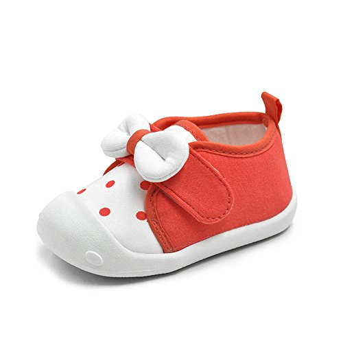 MK MATT KEELY Baby Girls Shoes Princess Bowknot Soft First Walkers Spot Hook Loop Toddler Red Sneakers Rubber Sole,Orangered,US size 5:Insole length:13cm/5.12 inches