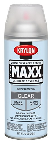 Krylon K09163000 COVERMAXX Spray Paint, Satin Crystal Clear Acrylic, 11 Ounce