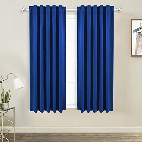 WONTEX Thermal Insulated Blackout Curtains, Back Tab and Rod Pocket Room Darkening Curtains for Living Room and Bedroom, Set of 2 Curtain Panels, 38 x 45 inch, Royal ()