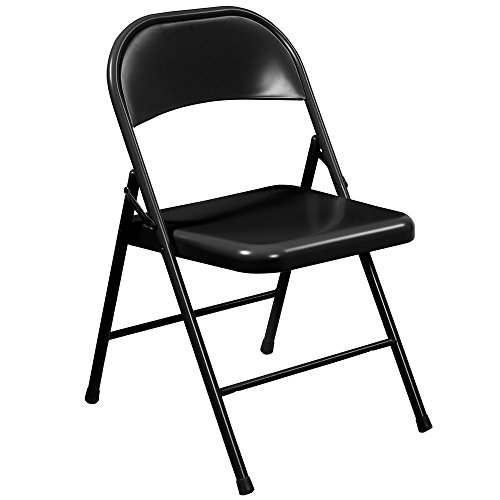 National Public Seating 910 Commercialine Steel Folding Chair, Black(4 pack)