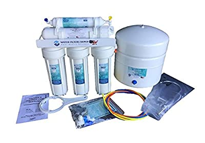 """USRO-550-1/4-STD 50 gpd, 5 Stage Undersink Reverse Osmosis Water Filtration System complete with water filter cartridges, Filmtec membrane, lead free faucet, wrench, installation manual and parts,1/4"""""""