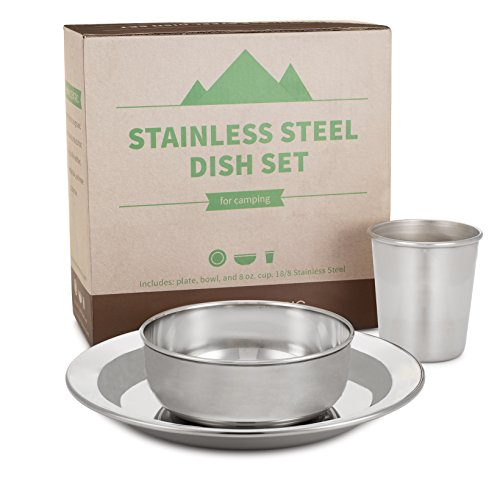 HumanCentric Compact Stainless Steel Dish Set for Home and Outdoor Use, with Small Plate, Bowl, and Cup - BPA Free