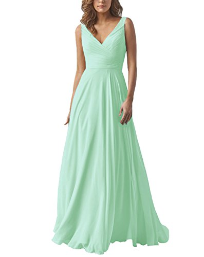 Women's A Line Long Chiffon Bridesmaid Dress Formal V Neck Prom Evening Gown MintGreen ()