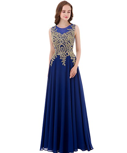 Kivary Gold Lace A Line Long Chiffon Women Formal Corset Prom Evening Dresses Royal Blue US 10