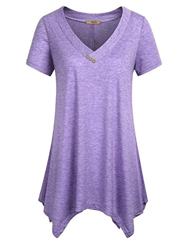 Asymmetric Tunic - Miusey Casual Loose Tops for Women, Ladies Tunic Tee Short Sleeve Shirts V Neck Summer Handkerchief Hem Flowy Lightweight Long Pleated Comfy A Line Swing Blouses Purple M