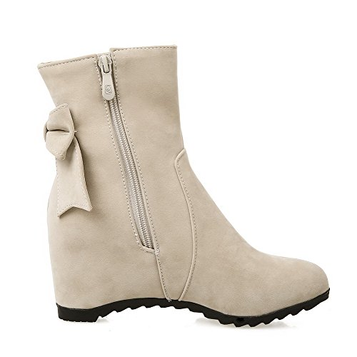 AmoonyFashion Womens Kitten Heels Frosted Solid Zipper Closed Round Toe Boots Beige dmicv2qm