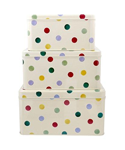 - Emma Bridgewater Set of 3 Square Cake Storage Tins Polka Dot
