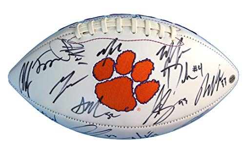 Clemson Tigers 2016 National Champions Team Signed Autographed White Panel Logo Football PAAS LOA COA DeShaun Watson