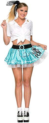 Forum Novelties Women's Mini Poodle Skirt Costume, Blue, (Mini Poodle Skirt)