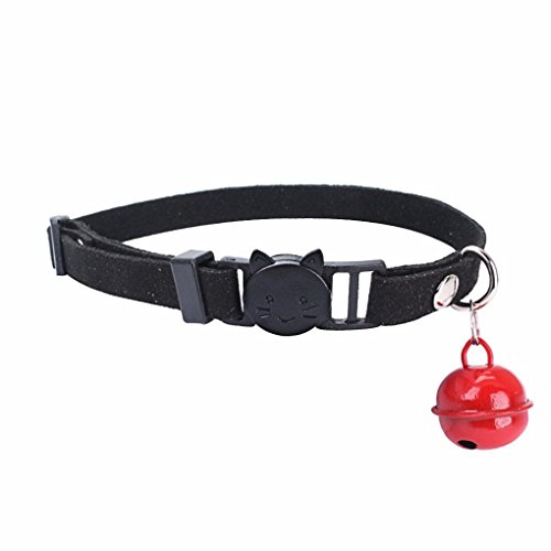 Dots Cat Collar - Smdoxi Pet Soft Comfortable Dots Cat Collar Safety Pin Whit Bell (Black)
