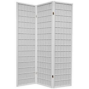 3 Panel White Wood Shoji Screen Room Divider